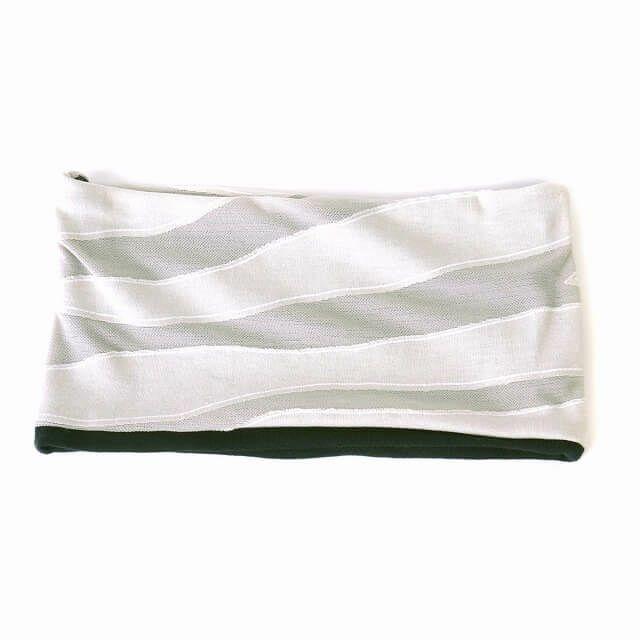 ホワイトのリーフデザイン オーガニックコットン ターバン ヘアバンド