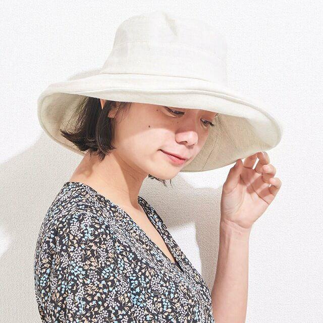シンプル UVカット つば広ハット | レディース 日よけ帽子 おしゃれ ハット つば広帽子 女優帽 日除け帽子 保育士