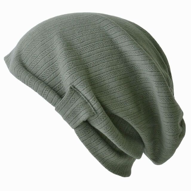 カーキのコットン シルエット デザイン ビック ワッチ | レディース 春夏 綿100% 医療用帽子 就寝用 ケア帽子 外出用 室内帽子 サマーニット帽