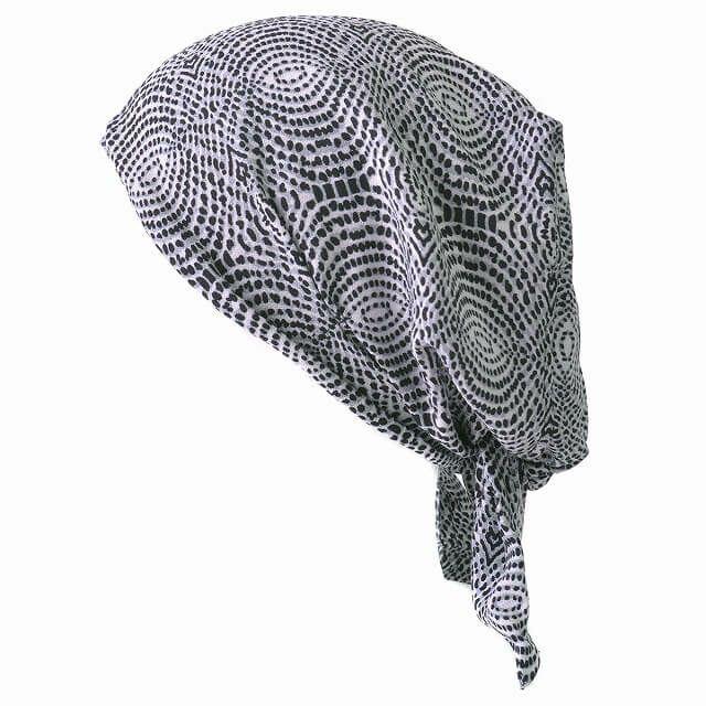 ブラックのシャプロン ターバンキャップ (レイン)  レディース メンズ 夏 帽子 バンダナ 三角巾 大人 医療用帽子 おしゃれ