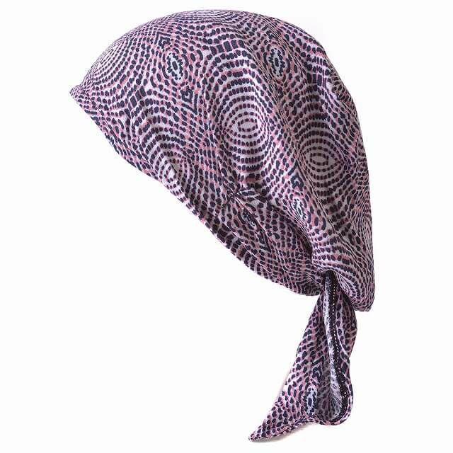 ピンクのシャプロン ターバンキャップ (レイン)  レディース メンズ 夏 帽子 バンダナ 三角巾 大人 医療用帽子 おしゃれ