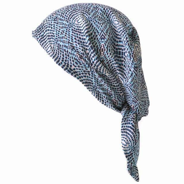 ブルーのシャプロン ターバンキャップ (レイン)  レディース メンズ 夏 帽子 バンダナ 三角巾 大人 医療用帽子 おしゃれ