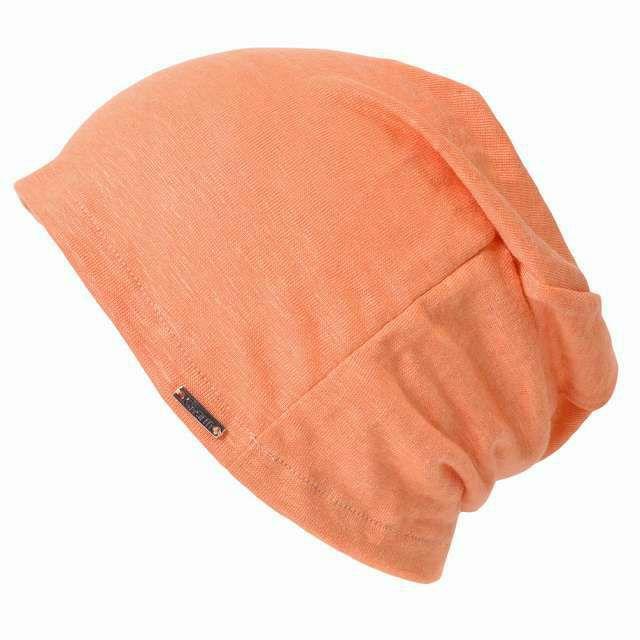 オレンジの【日本製】wind リネン ビック ワッチ   レディース 春夏 麻100% 帽子 サマーニット帽 室内帽子 ビーニー 夏の帽子 ニット帽 おしゃれ 涼しい