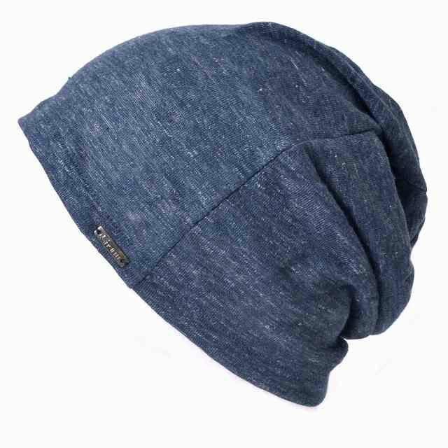 ミックスネイビーの【日本製】wind リネン ビック ワッチ   レディース 春夏 麻100% 帽子 サマーニット帽 室内帽子 ビーニー 夏の帽子 ニット帽 おしゃれ 涼しい