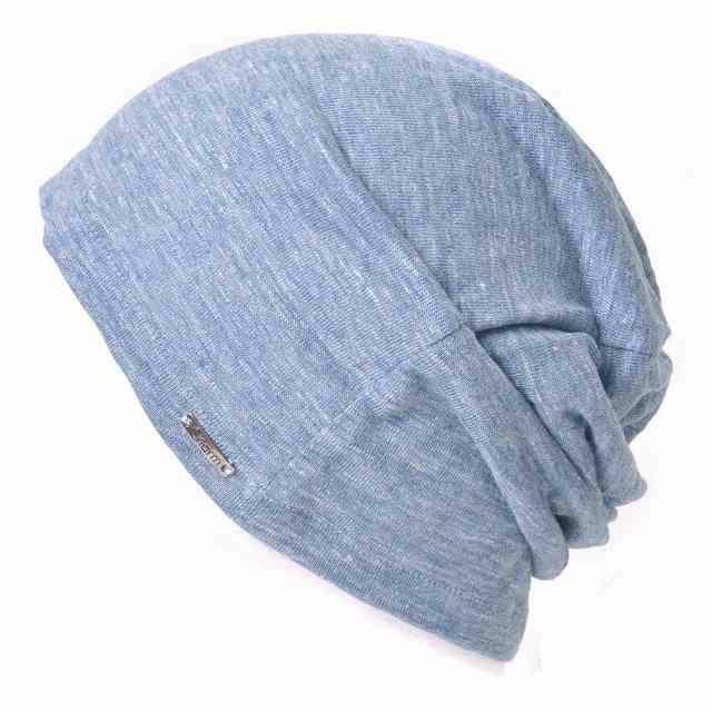 ミックスブルー【日本製】wind リネン ビック ワッチ   レディース 春夏 麻100% 帽子 サマーニット帽 室内帽子 ビーニー 夏の帽子 ニット帽 おしゃれ 涼しい
