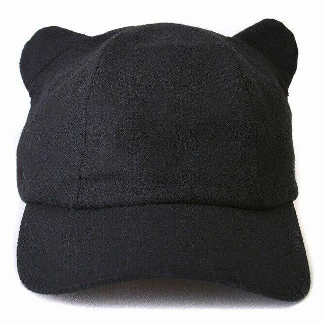 ブラックのキャット ミミ キャップ