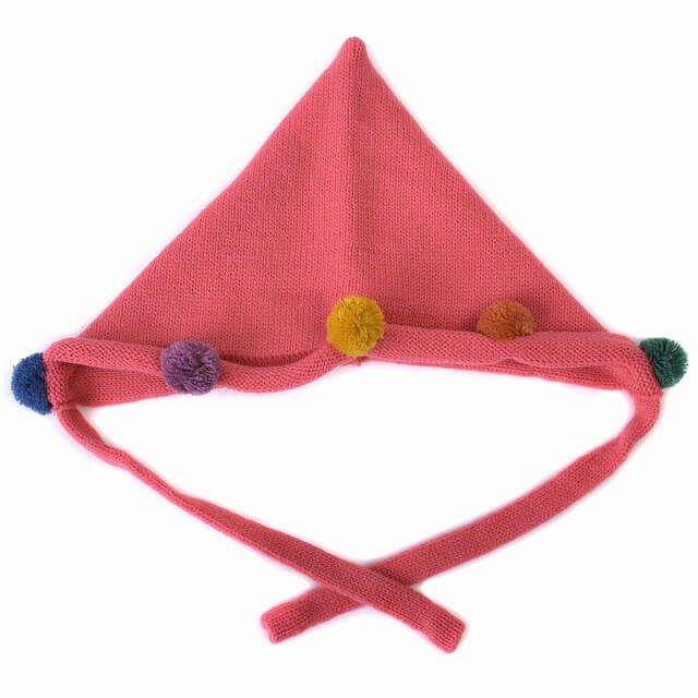 ピンクのベビー : ポンポン ニット フード