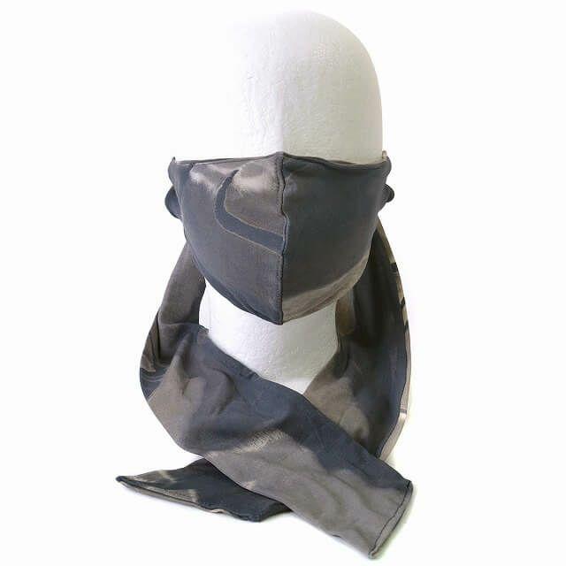 ブラックのマーブル マスク スカーフ ターバン ヘアバンド