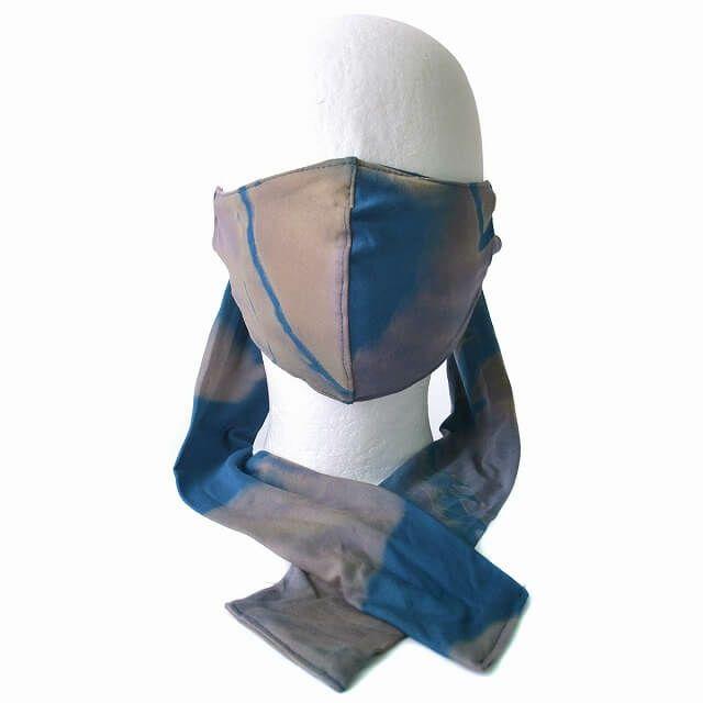 ブルーのマーブル マスク スカーフ ターバン ヘアバンド