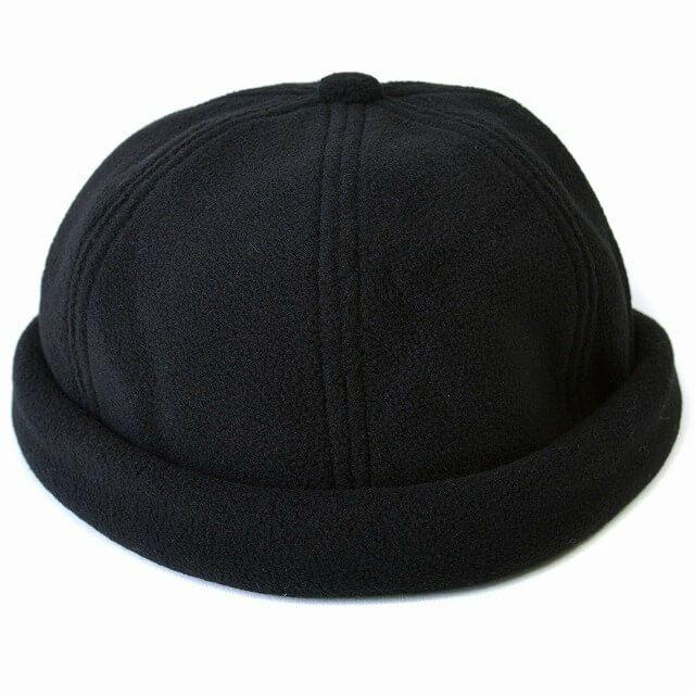 ブラックのフリース フィッシャーマンキャップ
