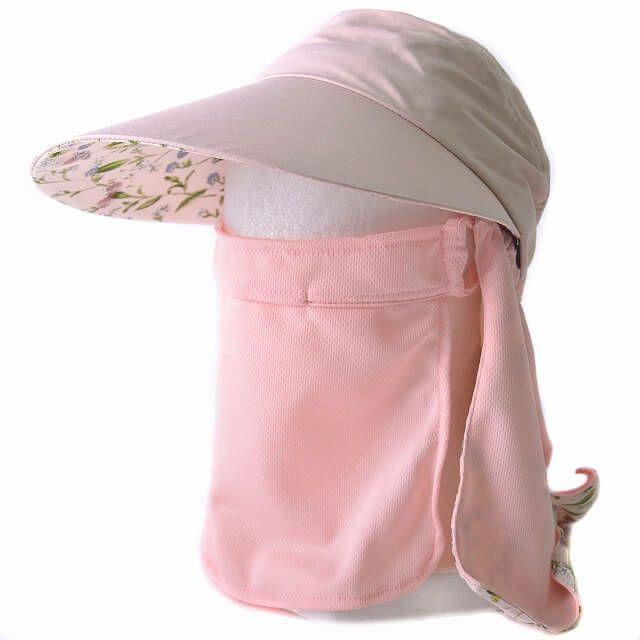 ピンクのシェル UVカット 日よけ付き キャップ